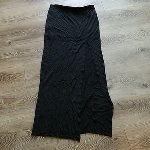 Bella Luxx Black Maxi Skirt Leg Slit Skirt Lined